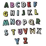 TANGGER Parches Termoadhesivos 26Pcs de letra del alfabeto A-Z Bordados DIY de Costura de Decoración Applique Parches para la camiseta Jeans Ropa Bolsas