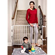 Regalo Extra Tall and Wide 2-in-1 Stairway and Hallway Wall Mounted Baby Gate, Bonus Kit, Includes Banister and Wall Mounting Kit