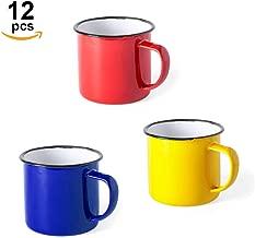 Home Fan Line® - Set de 12 tazas metálicas vintage o retro, tres colores variados y caja individual. Ideal para café o té (Rojo, Azul y Amarillo, 12 Tazas)