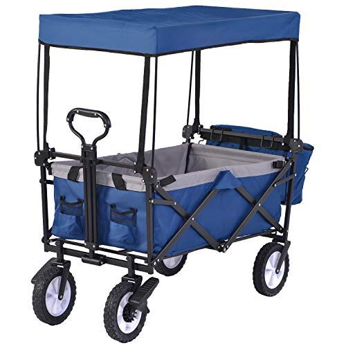 LGC - Carrito plegable de jardín, carrito de transporte de mano, resistente, plegable, portátil (azul con toldo)