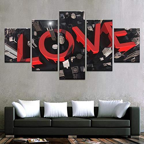 Decoración del hogar Carteles de lona Arte de la pared 5 piezas Edificio de la ciudad del amor Letras rojas románticas Imágenes de símbolos Pintura abstracta Impresión Sin marco-20x35_20x45_20x55cm