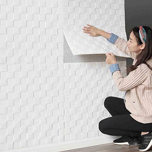 Takarafune 3D壁紙 立体 壁紙シール クッションシート 防音シート 防水 壁紙 断熱 ウォールステッカー 賃貸OK タイルシール 壁紙シール 白 70cm×70cm大判 20枚セット 部屋デコレーション