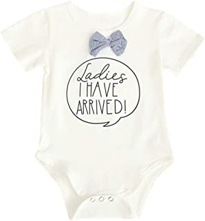 LNGRY Baby Romper,Toddler Newborn Kids Girls Boys Ladies I Have Arrived Bow Tie Romper Bodysuit Outfits Clothes