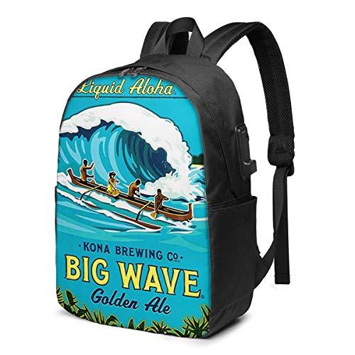 Kona Big Wave Trendy Reise USB-Rucksack, 17-Zoll-Computer Busin Rucksäcke Studentenrucksack Casual Hiking Daypack