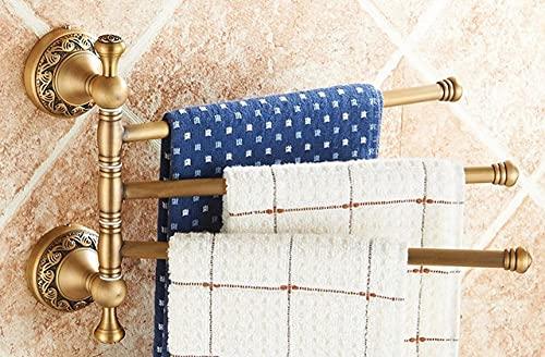 VVW&LIU Soporte de Papel de Toalla Tallado en latón Antiguo Toallero de baño Accesorios de baño Grifo Retro Juego de Accesorios de baño, Estante Giratorio, 3 Barras, h