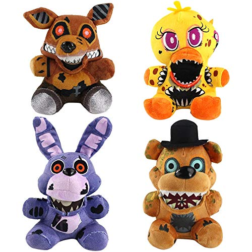GYINK 4Pcs / 18Cm Fünf Nächte Bei Freddy's Nightmare Bear Foxy Chica Bonnie Plüschtiere Weiche Kuscheltiere Puppen Kinder Kinder Geschenk