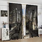 DRAGON VINES Cool Modern - Cortina de noche para habitación y cocina, diseño de rascacielos de Nueva York, 183 x 160 cm