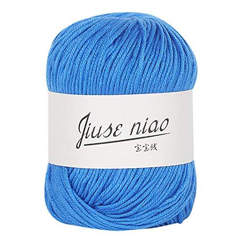 FeiliandaJJ Milch Baumwolle 50g Wolle Zum Stricken & Häkeln Handstrickgarn,Hautpflege Kaschmir Einfarbig Super Weich Wolle Perfekt für Hüte Pullover Schal,13 Farben (K)