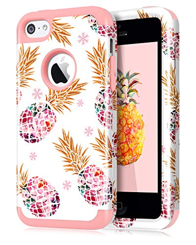 Dailylux iPhone 5C Case,5C Case,PC+Soft Silicone Three Layers Shockproof Armor Anti-Slip Protective Defensive Hard Back Cover for Apple iPhone 5C-Color Pineapple Rose Gold