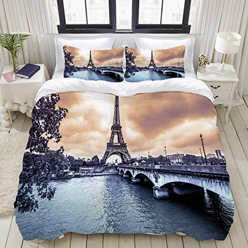 MOBEITI Set Biancheria da Letto,Ponte sul Fiume Tower di Parigi,Set Copripiumino in Microfibra,Matrimoniale,1 Copripiumino220 x 240cm + 2 federe 50 x 80 cm