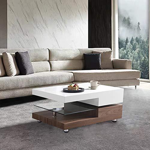 GOLDFAN Moderner Drehbarer Couchtisch Hochglänzender Wohnzimmertisch mit Glasregal für Zuhause und Büro (Walnuss & Weiß)