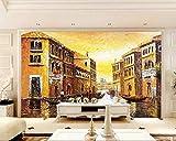 Mural 3D Efecto Gigante Cartel Dorado Venecia Imagen Biblioteca Fotográfica Sala Restaurante Restaurante Centro Comercial Decoración Papel Tapiz-200Cmx140Cm(Lxa)