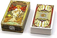 HEZHANG ゴールデンアートヌーボーロータロットカード78ピース運命予測タロットデッキオカルト区画板ゲーム大人のための魔法のゲームカード