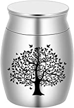 BGAFLOVE Small Mini Cremation Keepsake Urn for Human Ashes Stainless Steel Life Tree Memorial Ashes Holder