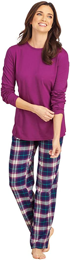 AmeriMark Pajama Sets for Women Cotton Knit Top with Plaid Flannel Lounge Pants