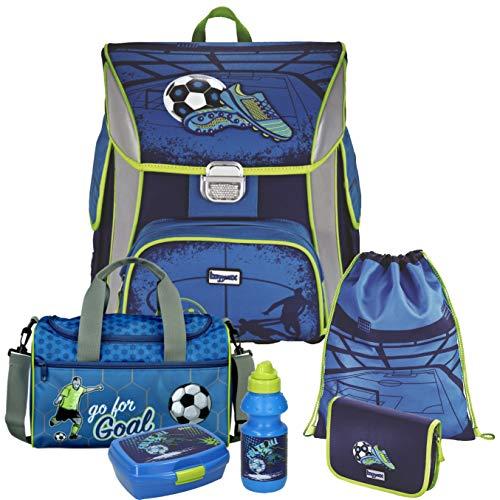 Soccer Blue - Fußball Football - BAGGYMAX SIMY Leicht-Schulranzen-Set 6tlg. Hama mit SCHULSPORTTASCHE, BROTDOSE und TRINKFLASCHE