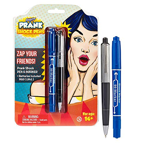 Shock Pen and Marker Prank Set 2-in-1 Funny Pens Gag Gift - Fool Friends and Make Family Laugh with Electric Shocking Practical Joke Toys - April Fools' Day Trick Shocks and Really Writes - Pack of 2