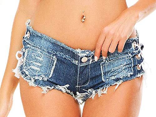 Inception Pro Infinite - Shorts Damen Jeans - Shorts - zerrissen - sexy - schnürsenkel - ausgefranst - niedrige Taille - kurz - mädchen - Meer - Strand - Blaue Farbe - größe s
