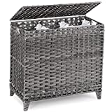 Laundry Hamper with 3 Removable Liner Bags; 132L Handwoven Rattan Laundry Basket with Lid & Heightened Feet; Laundry Sorter with 3 Separate Sections