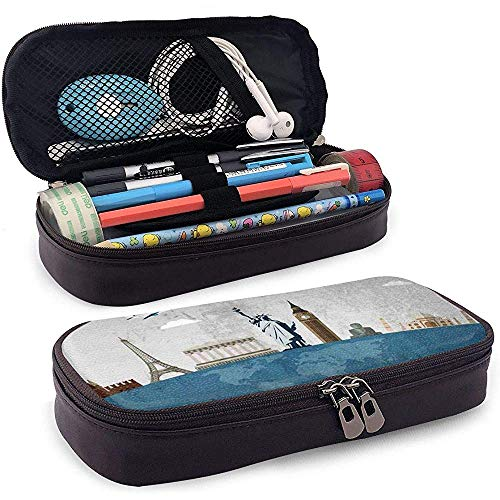 Reisen Sie berühmte Wahrzeichen der Welt Icons Bleistift Federbeutel Beutel Halter Kosmetik Make-up Tasche