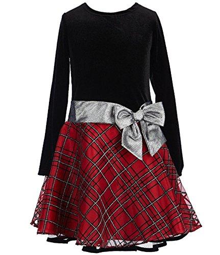 Bonnie Jean Stretch Velvet to Glitter Flock Drop Waist Holiday Girls Dress (2T, Red)