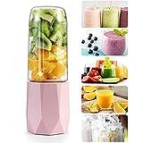 Maker Smoothie - Batidora de vaso portátil, 18000 rpm, alta velocidad, fruta, batidora para Smoothie, Juicer, Crush Ice, especias, 400 ml, rosa