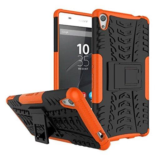 FaLiAng Sony Xperia XA Ultra Funda, 2in1 Armadura Combinación A Prueba de Choques Heavy Duty Escudo Cáscara Dura para Sony Xperia XA Ultra (Naranja)
