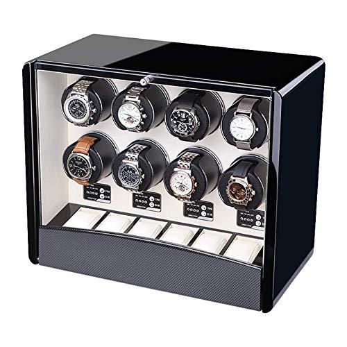 FACAIA Automatische Uhrenbeweger für 8 Uhren, Kristallknopf 3 Arten der Stromversorgung 4 Timer-Programme - 42 & mal; 23 & mal; 35 cm