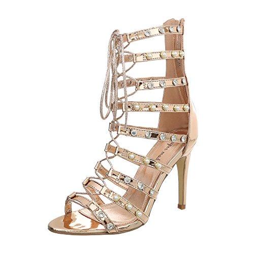 Ital-Design High Heel Sandaletten Damen-Schuhe Pfennig-/Stilettoabsatz Heels Reißverschluss Sandalen & Pink Gold, Gr 38, 2329-