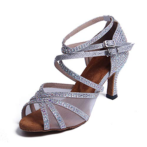 Syrads Zapatos de Baile Latino con pedrería para Mujer Sals