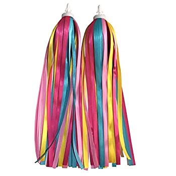 OLOEY 1Pair 2pcs  Children Kid s Bike Scooter Bicycle Handlebar Grips Colorful Polyester Streamers Tassel Ribbons