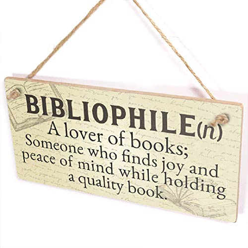 Bibliophile A Lover of Books Plaque - Dictionary Definition Library Reading...