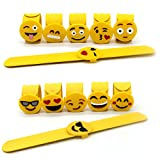 Adecco LLC Mixed Emoji Wristband Party Bracelets, Emoji Face Expressions Slap Bracelets Wrist Strap for Birthday Party Supplies Favors Prize Rewards, 12 Pack (Steel Wrist Band)