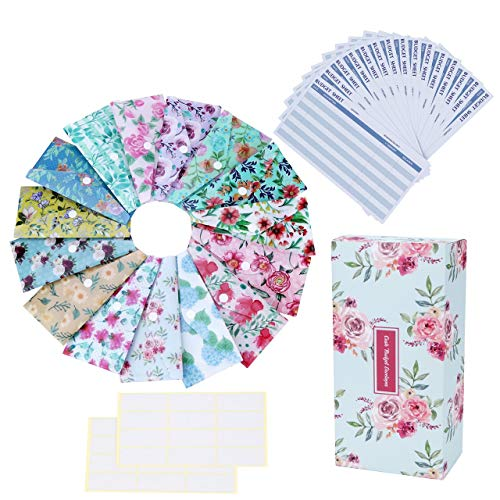 Mangsen 15 Pack Cash Envelope System for Budgeting Reusable Plastic Budget Envelopes with Budget Sheets Stickers Box for Saving Money (Floral)