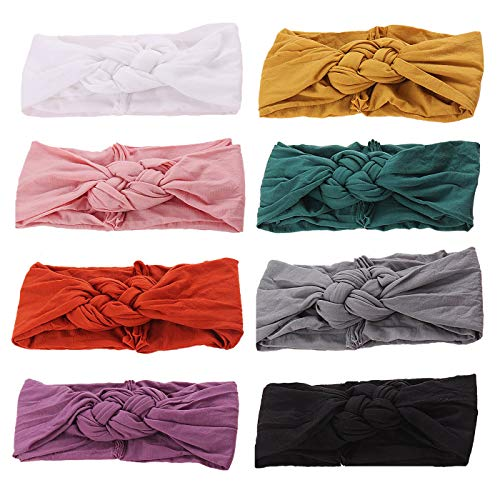 inSowni 8pcs Solid Celtic Knot Stretchy Nylon Headbands Hair Accssories for Baby Girls Toddlers Newborns Infants Kids