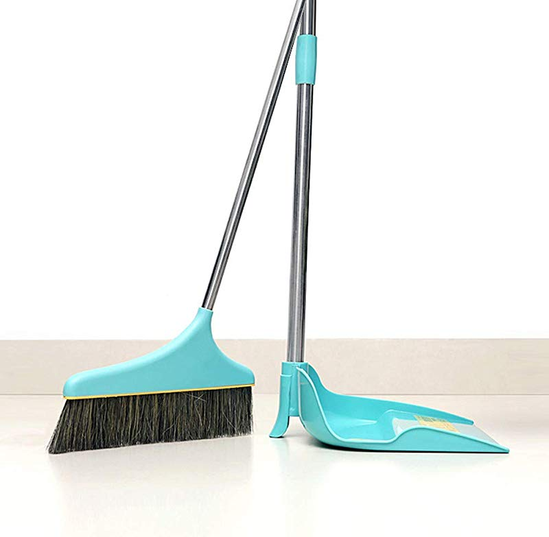 Broom And Dustpan Set Self Cleaning Broom Bristles With Handle Basics Broom And Dustpan Combo Set For Home Office Kitchen Shipped From USA Blue