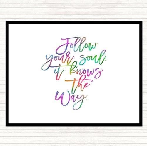Volg uw ziel Rainbow Quote diner tafel Placemat