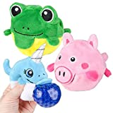 ArtCreativity Plush Animal Toy with Squeezy Water Beads, Set of 2, Cute Stress Relief Sensory Toys for Boys and Girls, Zoo Safari Birthday Party Favors and Goodie Bag Fillers for Kids