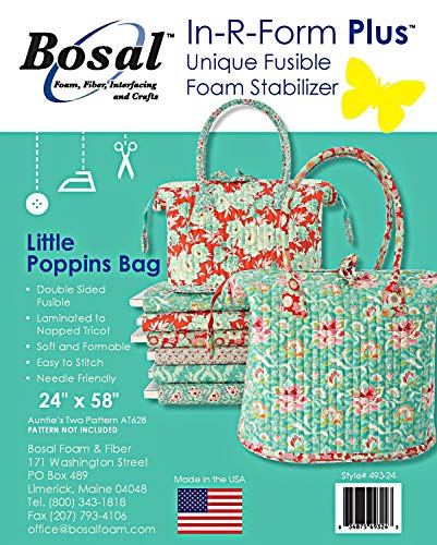 Bosal in-R-Form Plus Unique Fusible Foam Stabilizer 24 Inches by 58 Inches for Aunties Two Little Poppins Bag Pattern (Onе Paсk)