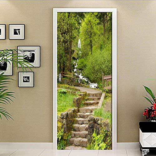 BXZGDJY 3D-deur muurschildering zelfklevend poster - Forest Ladder Creek Landschap Pvc afneembare deur film DIY sticker bloem woonkamer slaapkamer kinderen restaurant kantoor bar deur kunst decoratie 90x210cm