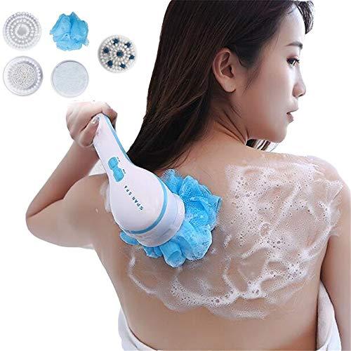 Spin Spa Body Brush met 5 afneembare bijlagen, lang behandelde elektrische massage borstel bad douchekop diep schoon, draagbare scrubber exfoliatie kit