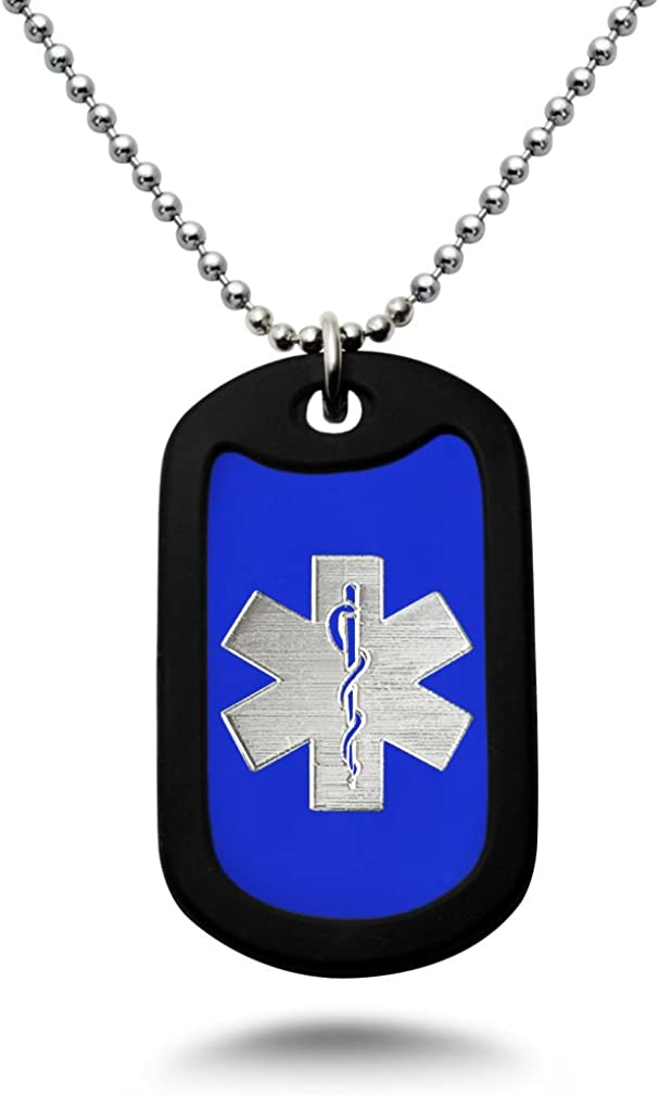 Carved LA Medical Alert ID, Personalized Custom Engraved Medical Alert ID Aluminum Dog Tag Necklace