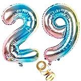 Globos de aire de 40 pulgadas, número 29 en arco iris para niñas, decoración de cumpleaños, número 29, globos de helio, número de globos con números, tamaño XXL, 100 cm, decoración para bodas