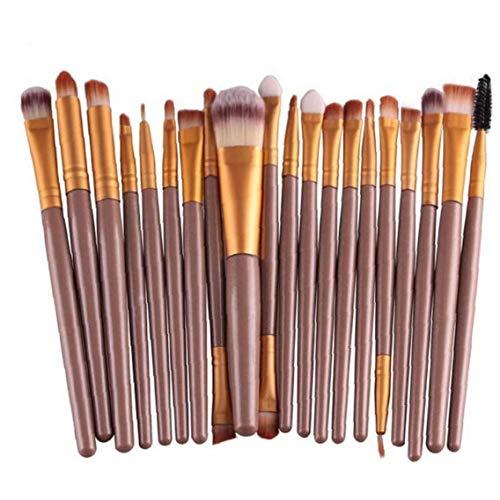 Blender 20PCS cosmétique de maquillage Pinceaux brosse professionnelle de teint en poudre Pinceau fard à paupières Pinceau à lèvres Soins de Beauté Outils (café)