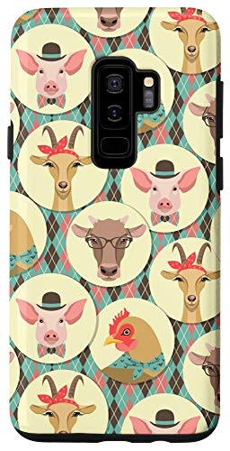 Galaxy S9+ Funny Cow Chicken Pig Goat Retro Farm Animal Phone Case