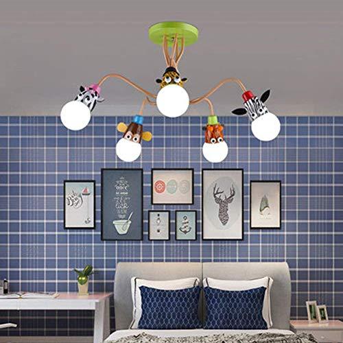 Moderno Dibujos Animados Animal Dormitorio for niños Salón Comedor Luz de Techo Luminaria Romántico LED Acrílico Zoo Boy Girl Princess Araña for Kindergarten (Color : 5 Lights)