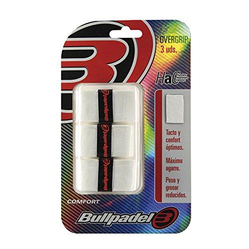 Bullpadel OVERGRIP GB-1200 012 Pack de 3 overgrips, Unisex Adulto, Blanco (Blanco), Talla Única