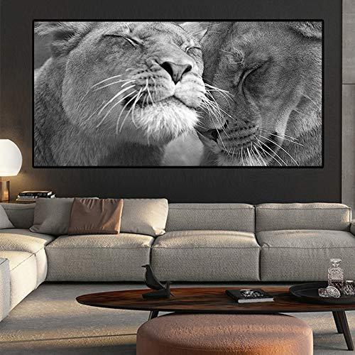 ganlanshu Schwarzweiss-Leinwandkunstplakat des Löwenkopfes und des Kopfes und druckt skandinavisches Wohnzimmerwandbild,Rahmenlose Malerei,75x150cm
