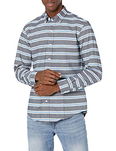 Amazon Essentials Men's Slim-Fit Stripe Long-Sleeve Pocket Oxford Shirt, Blue Horizontal, Large