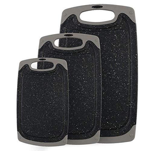 CHINZIO Schneidbretter, Set 3-teilig Kunststoff Schneidebrett mit Saftrillen und rutschfeste Griffe, Antibakteriell, BPA-frei, 3 Größen Kann - Schwarz